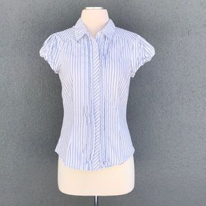 Blue Striped Button Down Dress Blouse